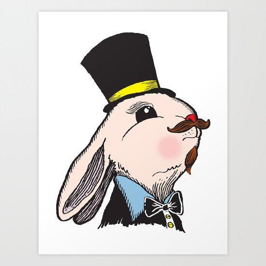 Rabbit & Hat Art Print
