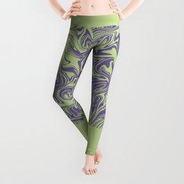 Liquid Swirl - Lettuce Green and Ultra Violet Leggings