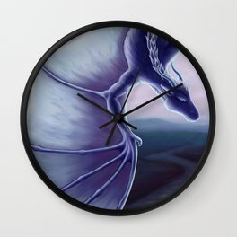 Blue Dragon with Landscape Wall Clock