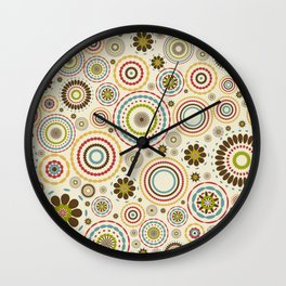 Vintage floral background with round flowers Wall Clock
