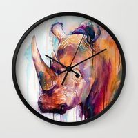 rhino Wall Clocks featuring Rhino by Slaveika Aladjova