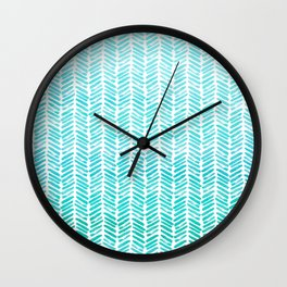 Handpainted Chevron pattern - small - light green and aqua teal Wall Clock