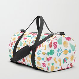 Summer time pattern with colorful beach elements Duffle Bag
