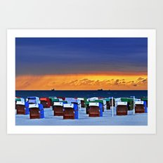 BEFORE THE STORM - beach chairs - Baltic Sea Art Print