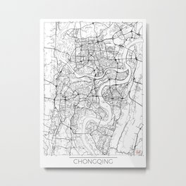 Chongqing Map White Metal Print