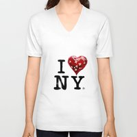 banksy V-neck T-shirts featuring Banksy * I Love New York by The Invisible Shop