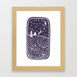 Hares Jump into the Night Sky in Purple Framed Art Print