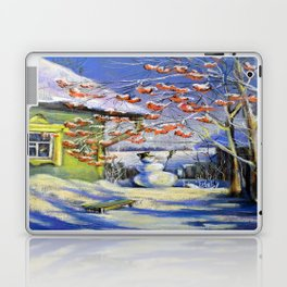 Morning snowman in the village Laptop & iPad Skin