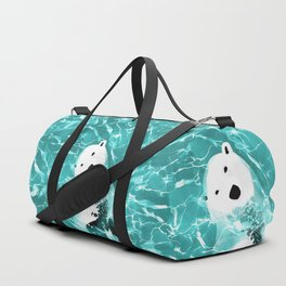 Playful Polar Bear In Turquoise Water Design Duffle Bag
