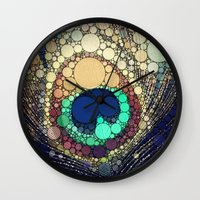 shipping Wall Clocks featuring Peacock Feather  by Love2Snap