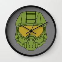 master chief Wall Clocks featuring Master Chief Helmet - Halo MCC by RoboKev