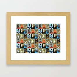 Studio Ghibli Collage - Calcifer, Jiji, Turnip, No Face, Markl, Kodama, Cat Bus & Soot Sprites Framed Art Print