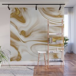 Gold Marble Milky Gold Swirl Wall Mural