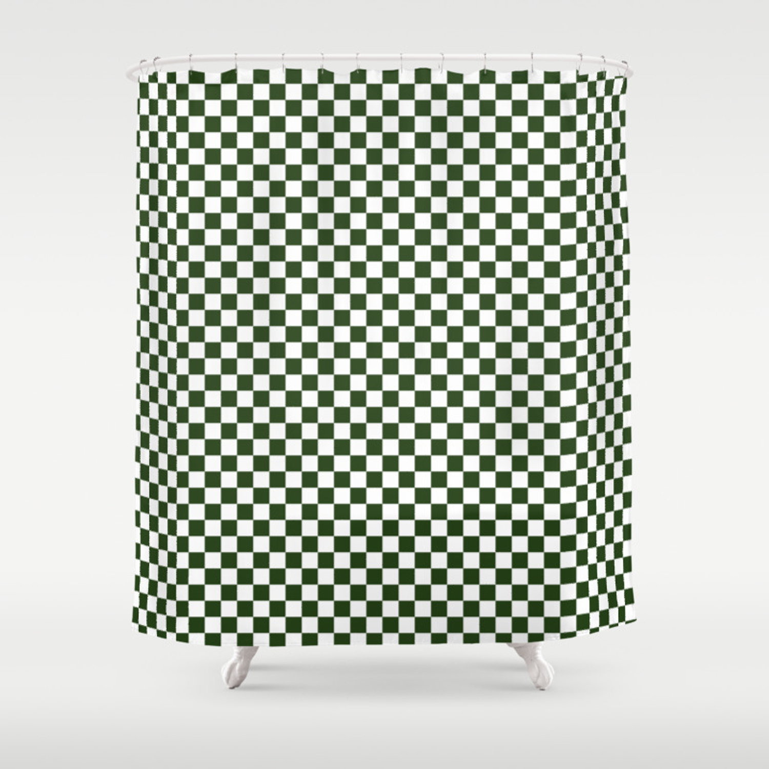 Dark Forest Green And White Check Shower Curtain