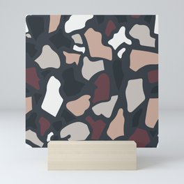 Abstract Terrazzo - Dark Neutrals Mini Art Print