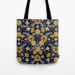 Navy Blue, Turquoise, Cream & Mustard Yellow Dark Floral Pattern Tote Bag