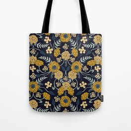Navy Blue, Turquoise, Cream & Mustard Yellow Dark Floral Pattern Tote Bag