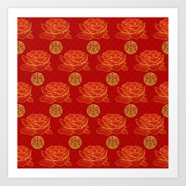 Peonies and Gold Double Happiness Symbol Pattern Art Print
