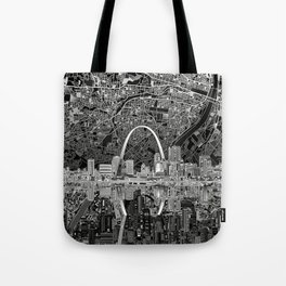st louis city skyline map Tote Bag
