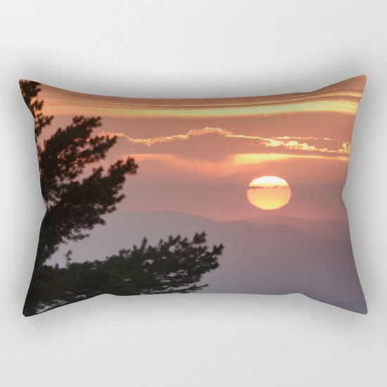 """Sun through the clouds and trees"" Sunset at the mountains Rectangular Pillow"