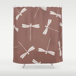 White Dragonflies against dark brown background.  Shower Curtain