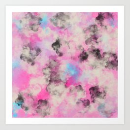 Artsy bright pink teal black abstract watercolor Art Print