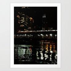 Chicago El and River at Night Art Print