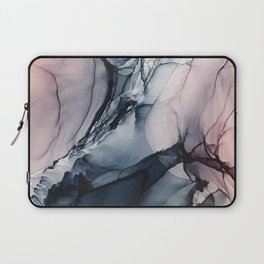 Blush, Navy and Gray Abstract Calm Clouds Laptop Sleeve