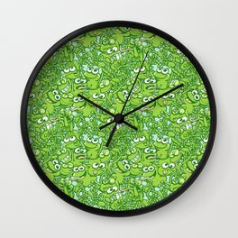 Funny green frogs entangled in a messy pattern Wall Clock