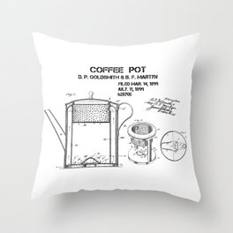 Coffee pot Goldsmith Martyn patent art 1899 Throw Pillow