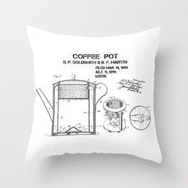 Coffee pot Goldsmith Martyn patent art 1899 Throw Pillow