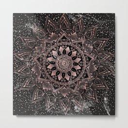 Elegant rose gold mandala dots and marble artwork Metal Print