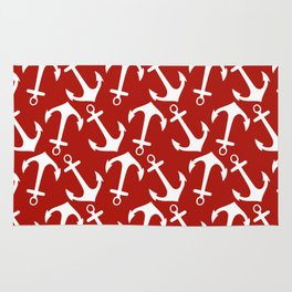 Maritime Nautical Red and White Anchor Pattern - Anchors on #Society6 Rug