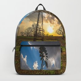 Twilight - Charred Landscape Comes Back to Life at Sunset in Kansas Backpack