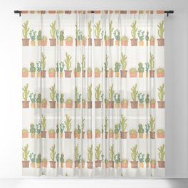 Hedgehog and Cactus (incognito) Sheer Curtain