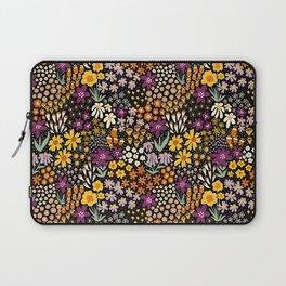 Autumn Flower Meadow Purple Yellow White Black Laptop Sleeve