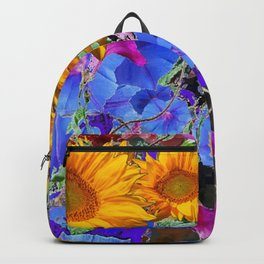 LARGE YELLOW SUNFLOWERS & BLUE MORNING GLORIES FLORAL Backpack