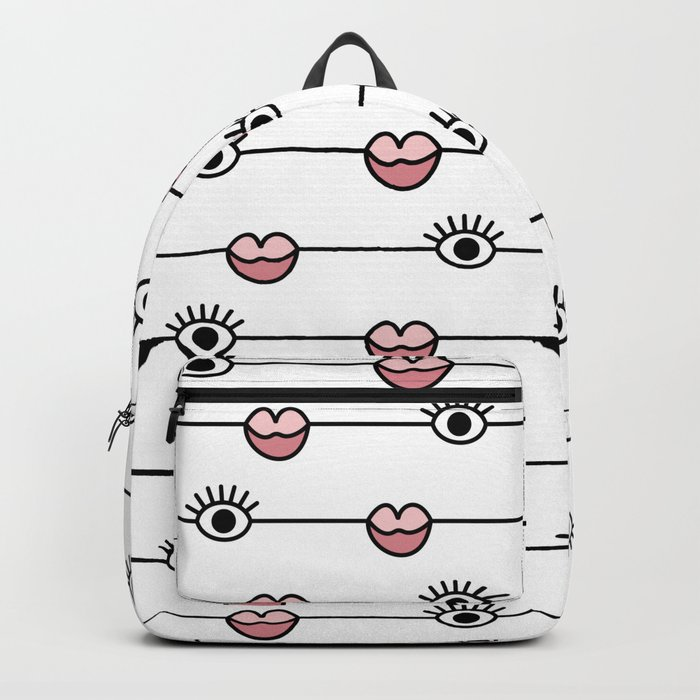 Funky Graphic Lips and Eyes Pattern Black, Pink, White Backpack