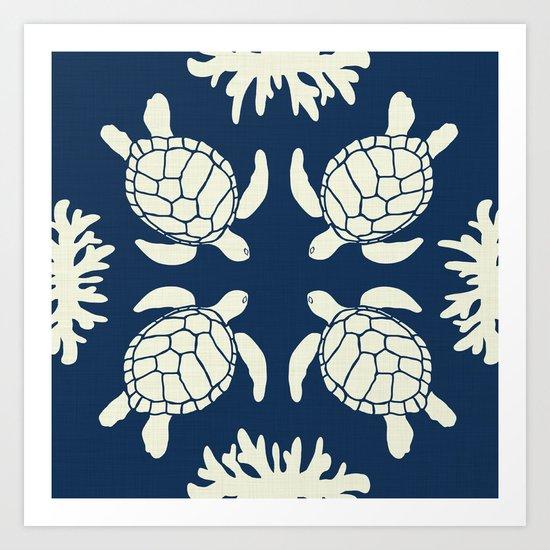 Sea Turtles on Indigo Linen Art Print