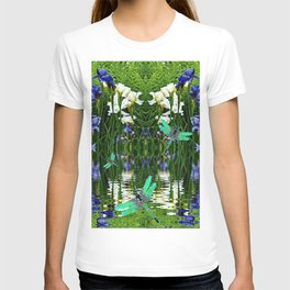 TURQUOISE DRAGONFLIES IRIS WATER REFLECTIONS T-shirt