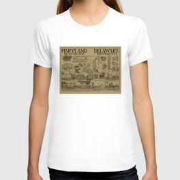 Vintage Maryland and Delaware Illustrative Map (1912) - Tan T-shirt