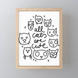 all cats are cute Framed Mini Art Print
