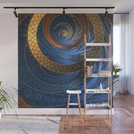 Royal Blue Sapphires and Shining Gold Fractal Bangles Wall Mural