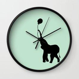 Elephant with Balloon - Mint Wall Clock
