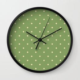 Green and yellow pattern with rhombs Wall Clock