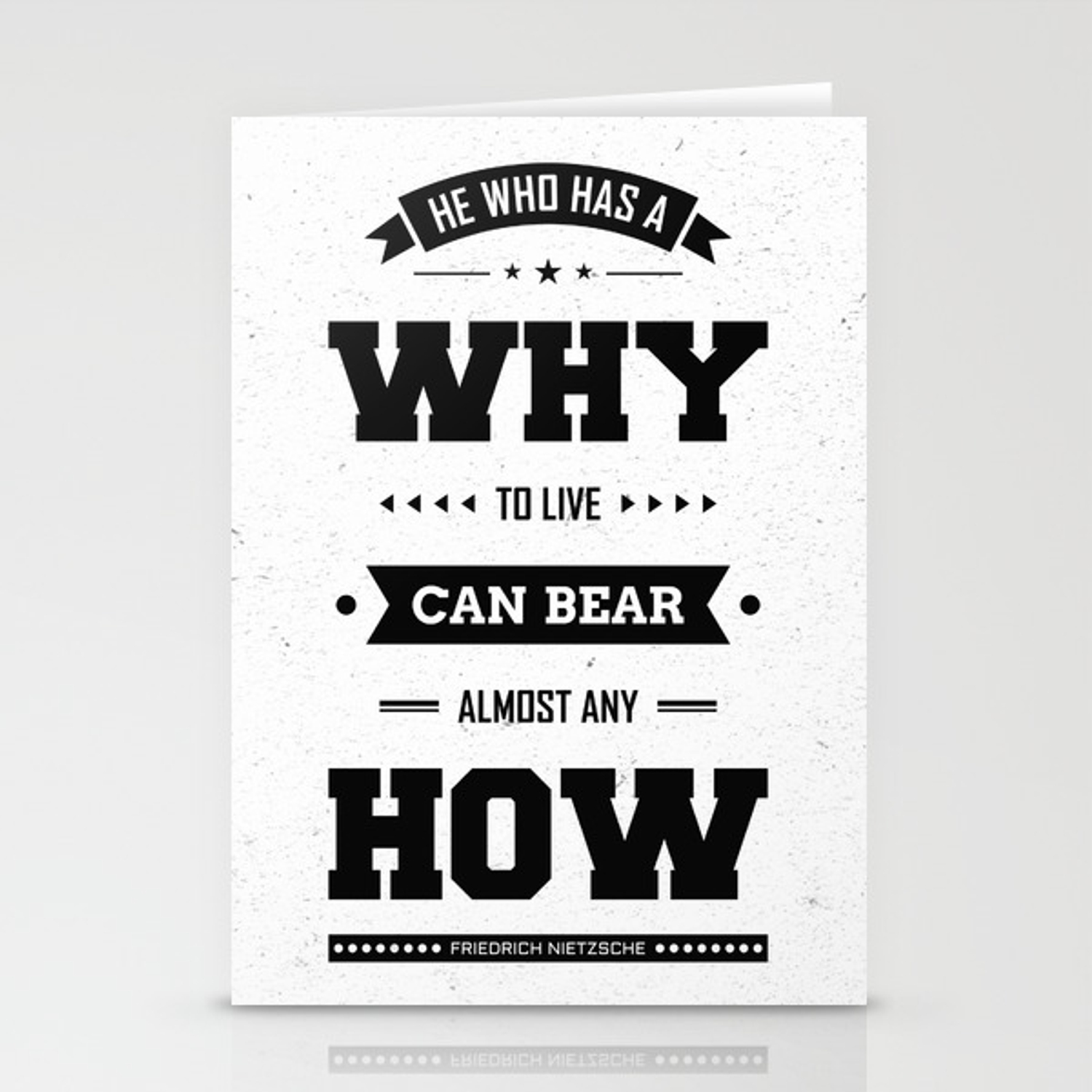 Lab No 4 He Who Has A Why Friedrich Nietzsche Inspirational Quote Stationery Cards By Labno4