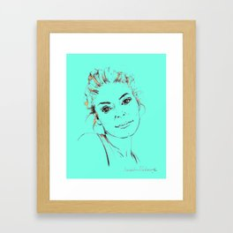 Portrait Collection ink pen drawing woman turquoise Framed Art Print