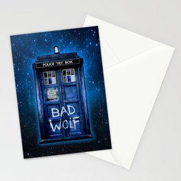 Phone box doctor with Bad wolf graffiti Stationery Cards