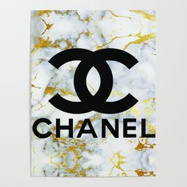 Couture Fashion Design White & Gold Marble Typography Poster