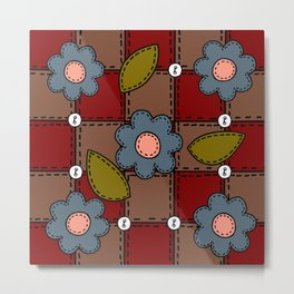 Retro Doodle Flower Style Quilt - Dark Red Brown Blue Metal Print